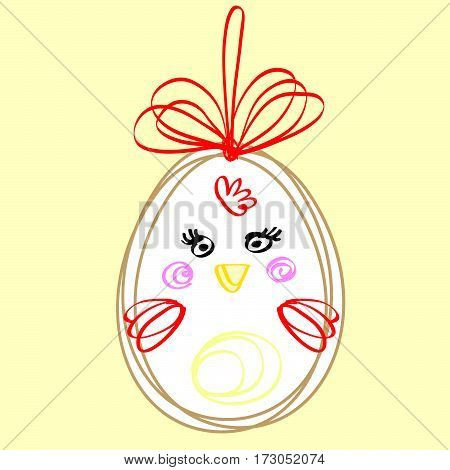 vector funny drawing Easter eggs, decor for Easter