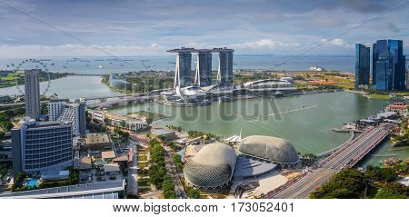 Singapore Skyline. Singapore city in moring day time.
