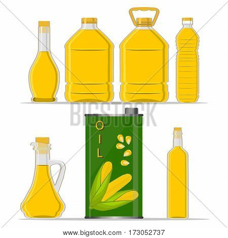 Vector illustration logo for set yellow glass bottle Corn Oil plastic bottles with cap iron jar maize oil metal container natural organic liquid corn in label oily drop closeup on white background