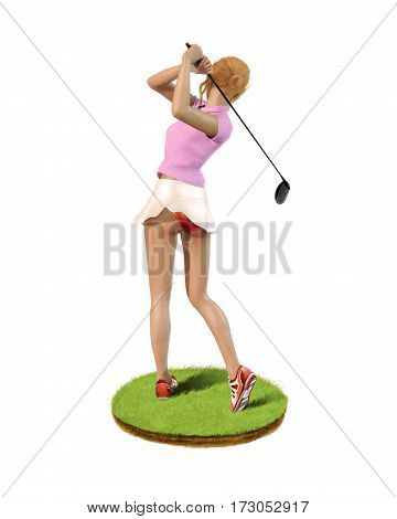 3D painting of a beautiful girl golf player teeing-off standing on a patch of grass rear view.