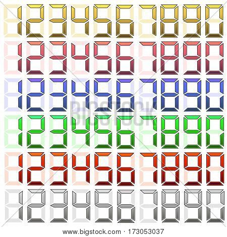 Set of Digital Numbers Isolated on White Background.