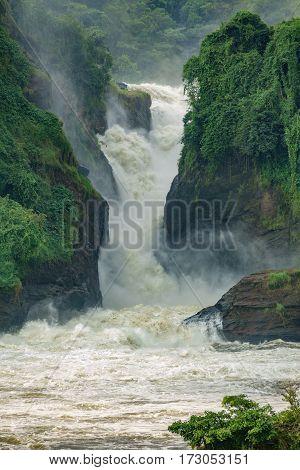 Closeup vertical view of Murchison Falls main one in Nilo River, Uganda, bottom view