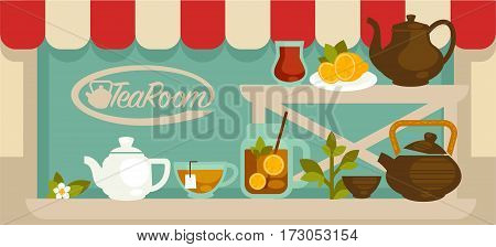Tea room showcase with light shelves and teapots on them. Vector illustration in flat design of outdoors view of tea room, brown and white teapots, cups and glass jar, plate with lemon slices
