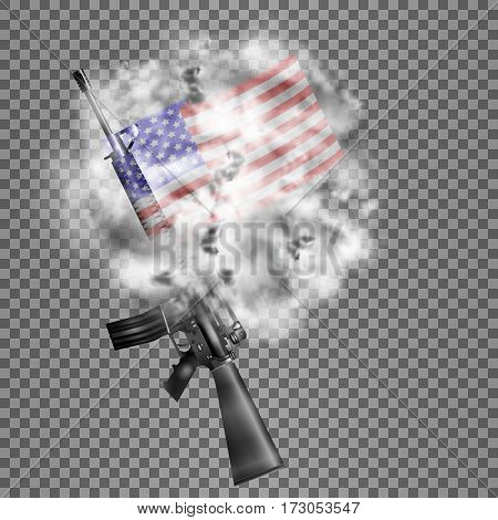 Realistic vector American M16 rifle the US flag in the smoke. Isolated objects smoke retaining real transparency.