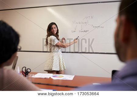 Businesswoman Standing By Whiteboard To Deliver Presentation