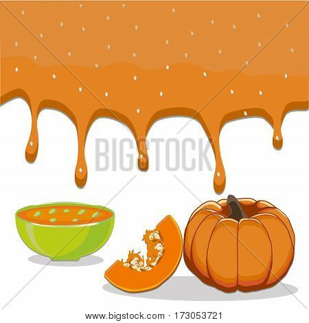 Vector illustration of logo for vegetable yellow pumpkin cut sliced plant product flows down liquid in bowls soups background.Pumpkin drawing consisting of kitchenware bowl soup.Eat fresh pumpkins.