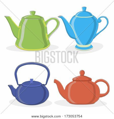 Vector illustration of logo for ceramic teapot isolated on background.Teapot drawing consisting of four glass kettles with handle lid spout for draining liquid coffee tea.Drink fresh teas with teapots