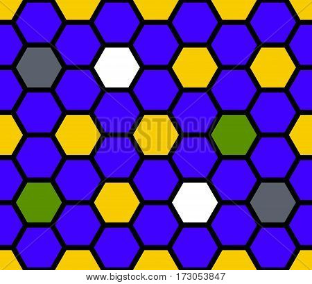 Blue stained glass of hexagons. Seamless pattern. Vector illustration.