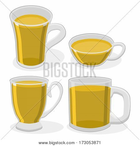 Vector illustration of logo for ceramic cup isolated on background.Cup drawing consisting of four glass teacup with handle for draining liquid coffee tea milk beer water.Drink fresh teas with cups