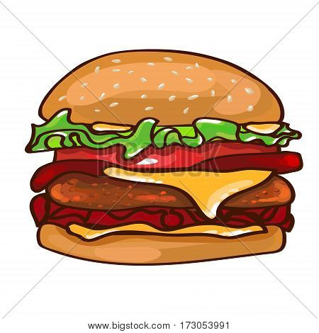 Flat colorful burger concept with bread meat tomato ketchup and mustard on white background isolated vector illustration
