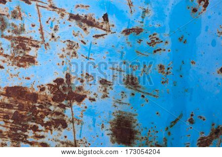 Blue rusted metal background texture. Blue grunge old rusty scratched surface texture. Background - old metal surface. Abstract texture and background for designers.