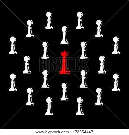 Set of chess figures. Chess elements collection. Flat style chess figures isolated. Leadership concept. Team with leader. Leader controlling followers. Vector illustration.