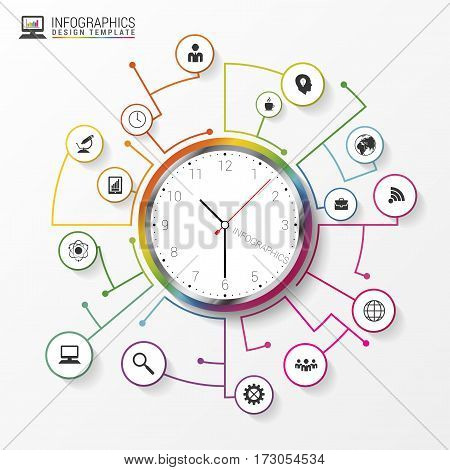 Abstract infographic with clock. Modern design. Vector illustration