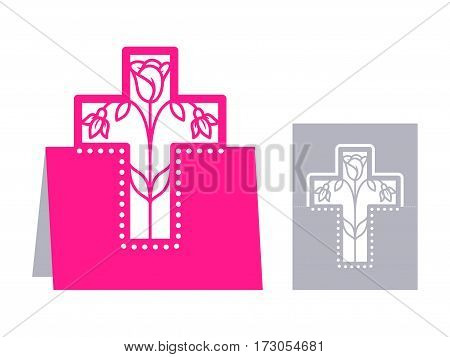 Laser cut template for Easter greeting fold-out cards, invitations. Easter cross with a floral pattern cut out of paper. Image suitable for laser cutting, plotter cutting or printing.