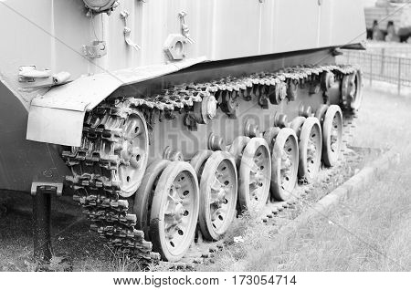 Fragment of tank track. Armed conflict. Era Cold War.
