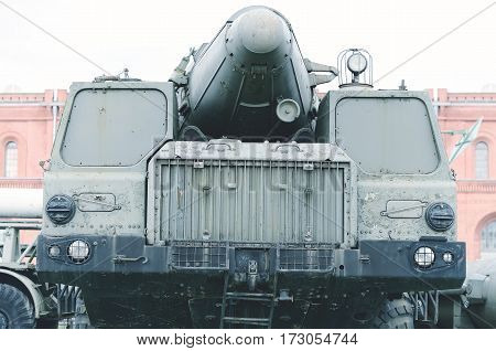 Old military mobile rocket launcher. Era of Second World War.