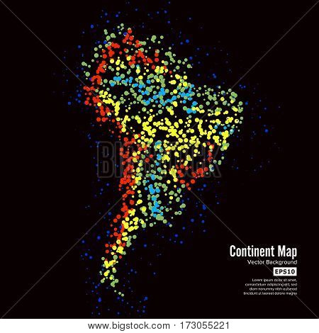 South America. Continent Map Abstract Background Vector. Formed From Colorful Dots Isolated On Black