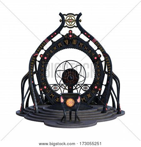 3D rendering of a fantasy portal isolated on white background