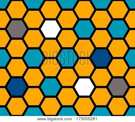 Stained glass colorful of hexagons. Seamless pattern. Vector illustration.