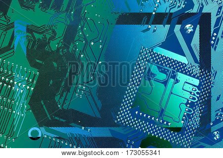Circuit board multicolor rectangular frame. Dark transparent silhouette in the middle with copy space for your text. Background for your information technology business presentation.