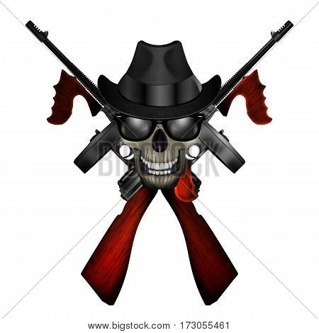 Logo realistic Thompson machine with a skull wearing a hat and sunglasses.