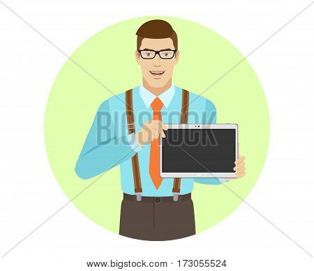 Businessman showing blank digital tablet PC. A man wearing a tie and suspenders. Portrait of businessman in a flat style. Vector illustration.