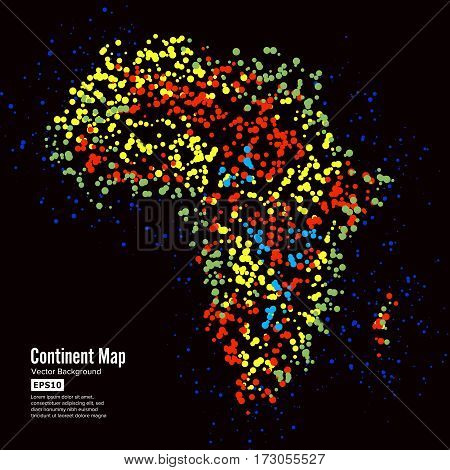 Africa. Continent Map Abstract Background Vector. Formed From Colorful Dots Isolated On Black