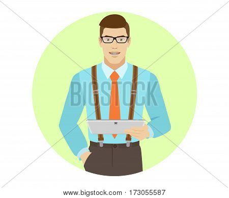 Businessman holding digital tablet PC. A man wearing a tie and suspenders. Portrait of businessman in a flat style. Vector illustration.