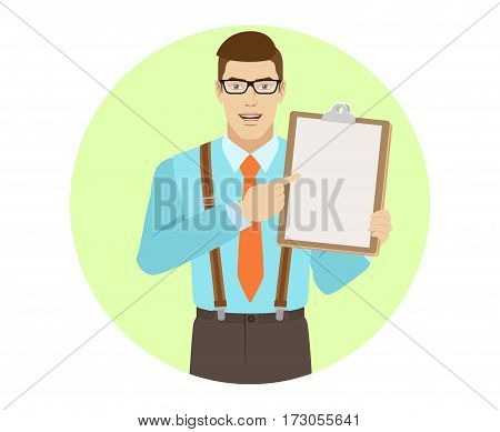 Businessman pointing at clipboard. A man wearing a tie and suspenders. Portrait of businessman in a flat style. Vector illustration.