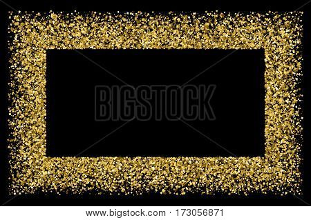 Gold frame glitter texture isolated on black.  Amber particles color. Celebratory background. Golden explosion of confetti. Raster and bitmap copy version.