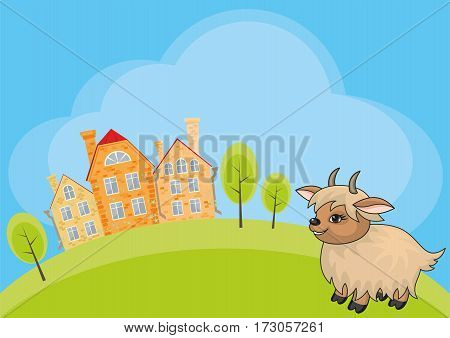 Vector children's background with the image of a rural landscape and a ridiculous goat