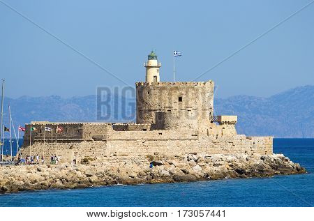 ancient Tower and Fort of Saint Nicholas in Rhodes,