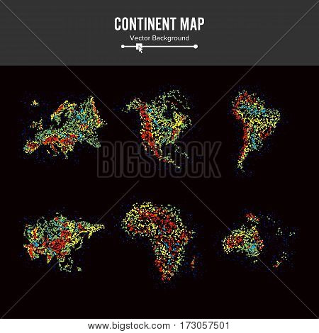 Continent Maps. Abstract Background Vector. Colorful Dots Isolated On Black