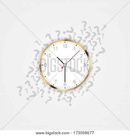 Modern clock with question marks. Vector illustration