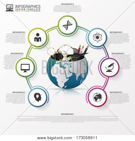 Infographic design template. world with business stuff. Vector illustration. Can be used for diagram banner number options workflow layout step up options or web design