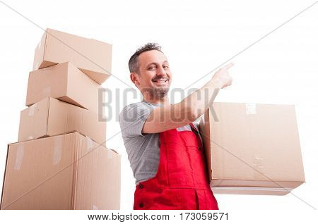 Low Angle Of Mover Man Holding Box Pointing Up