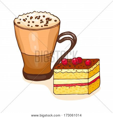 Coffee and piece of cake. Vector illustration, doodle style