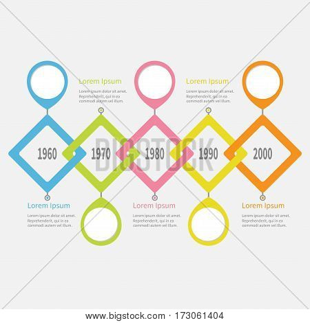 Five step Timeline Infographic. Placemark round circle. Colorful big rhombus square segment. Template. Flat design. White background. Isolated. Vector illustration