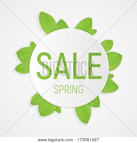 Spring sale fresh design template with green leaves. Layout for poster, card, article, web banner ad, label, shops.