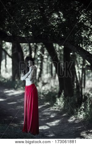 Wonderful sexy fashion model with naked walking in a fantastical forest. Photo of seductive nude woman in full length in luxury long red dress posing against bokeh trees background. Multi-racial Asian Caucasian girl. Fashionable toning. Creative computer