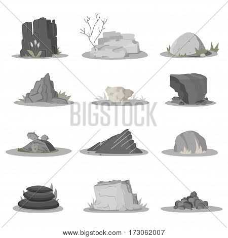 Rocks and stones single or piled for damage and rubble for