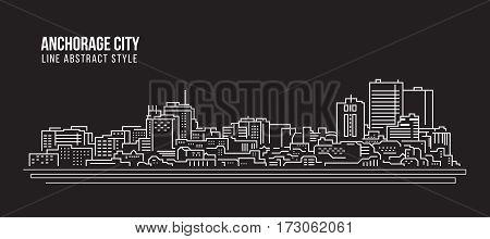 Cityscape Building Line art Vector Illustration design - Anchorage city