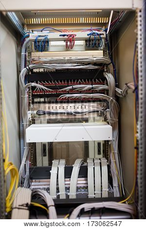 Open locker of rack mounted server in server room