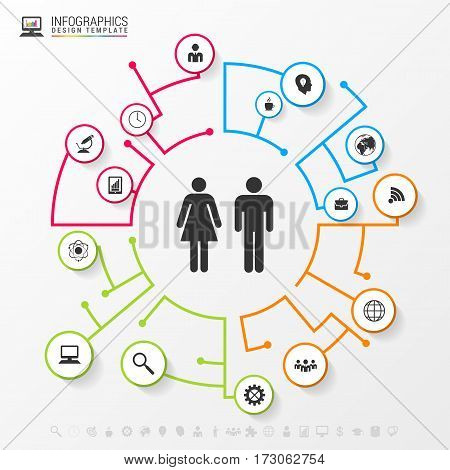 Infographic social network concept. Modern business template. Vector illustration