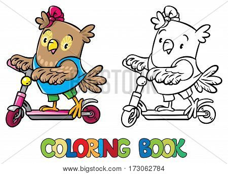 Coloring book of funny little funny baby owl rides a scooter. Children vector illustration