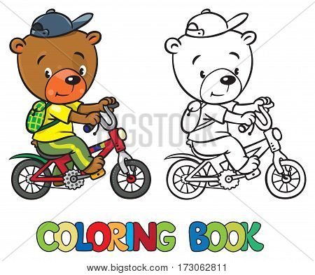 Coloring book of funny little funny bear rides a bicycle with backpack. Children vector illustration