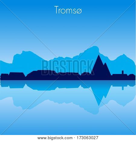 Tromso Norway Vector detailed skyline with reflexion