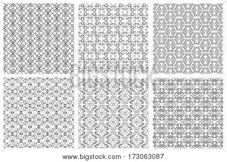 Seamless floral patterns in victorian antique elegant style on white background. Set of monochrome pattens in renaissance style illustration