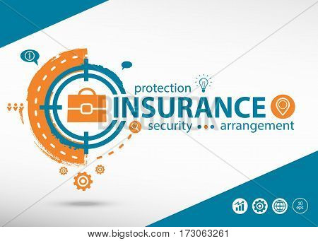 Insurance Protection Info And Marketing Concept On Target Icon Background.