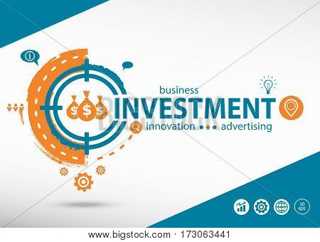 Investment  Word Cloud And Marketing Concept On Target Icon Background.
